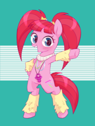 Size: 768x1024 | Tagged: artist:yukutamil, bipedal, cute, female, glowbetes, leg warmers, mare, open mouth, pacific glow, pacifier, pigtails, pony, safe, solo, starry eyes, the saddle row review, wingding eyes