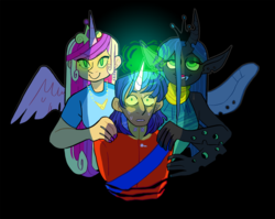 Size: 1280x1020 | Tagged: alicorn, artist:stevetwisp, changeling, fake cadance, horn, horned humanization, human, humanized, mind control, princess cadance, queen chrysalis, safe, shining armor, unicorn, winged humanization