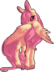 Size: 1257x1653 | Tagged: artist:voidsucre, big ears, blushing, cloven hooves, cutie mark, female, fluttershy, hair over one eye, heart eyes, long tail, mare, pegasus, pony, safe, shy, simple background, solo, stray strand, transparent background, wingding eyes