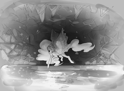 Size: 1058x778 | Tagged: alicorn, artist:voidsucre, cave, cavern, ethereal mane, female, flying, grayscale, lake, mare, monochrome, pony, princess luna, redraw, safe, solo, spread wings, underground, wings