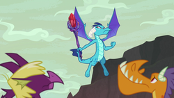 Size: 1920x1080   Tagged: safe, screencap, billy (dragon), fume, princess ember, spear (dragon), dragon, sweet and smoky, spoiler:s09e09, bloodstone scepter, dragon lord ember, dragoness, female, flying, male, solo focus, spread wings, trio, wings