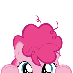 Size: 10000x10000   Tagged: safe, artist:mrkat7214, part of a set, pinkie pie, earth pony, pony, absurd resolution, cute, diapinkes, female, filly, filly pinkie pie, messy mane, peekaboo, peeking, simple background, solo, soon, transparent background, younger