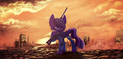 Size: 3130x1500 | Tagged: safe, artist:hagalazka, oc, bat pony, pony, fallout equestria, bat pony oc, bat wings, fallout, glasses, sunset, wings