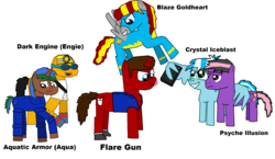 Size: 2256x1306 | Tagged: annoyed, armor, artist:megasean45, clothes, computer mouse, cutie mark, earth pony, gloves, goggles, helmet, oc, oc:aquatic armor, oc:blaze goldheart, oc:crimson flare gun, oc:crystal iceblast, oc:dark engine, oc:flare gun, oc:psyche illusion, pegasus, phoenix, phone, pony, safe, selfie, shoes, shy, smiling, stars, tongue out, unicorn, uniform, vest, wonderbolts, wonderbolts uniform
