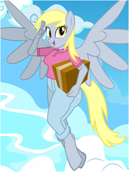 Size: 600x800 | Tagged: anthro, artist:flash equestria photography, box, cutie mark on clothes, delivery pony, derpy hooves, female, flying, mare, pegasus, safe, salute, show accurate anthro, sky, solo, unguligrade anthro, vector