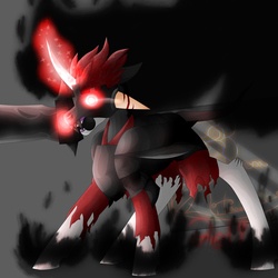 Size: 5800x5800 | Tagged: absurd res, anarchy (weapon), armor, artist:florarena-kitasatina/dragonborne fox, cel shading, clothes, crossover, glowing eyes, glowing eyes of doom, leonine tail, lotsa shadows, mask, matt (epic battle fantasy), pentagram, ponified, pony, red eyes take warning, safe, shading, shadows, signature, simple background, solo, sword, torn clothes, umbrum, uniform, unshorn fetlocks, watermark, weapon, what a lovely pony to meet in the middle of the night