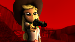 Size: 1920x1080 | Tagged: 3d, applejack, artist:facelesssoles, clothes, cowboy hat, crossover, equestria girls, female, freckles, gun, hat, red dead redemption, safe, solo, source filmmaker, stetson, video game crossover, weapon