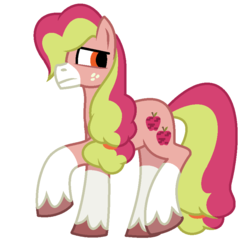 Size: 830x826   Tagged: safe, artist:bolivianite, oc, oc only, oc:fudji party, pony, androgynous, freckles, magical lesbian spawn, offspring, parent:applejack, parent:pinkie pie, parents:applepie, redesign, simple background, solo, unshorn fetlocks, white background