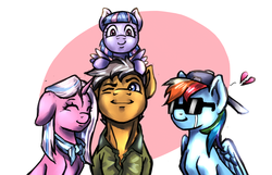 Size: 2000x1285 | Tagged: artist:brother-lionheart, auntie dashie, clear sky, common ground, crying, earth pony, facade, female, filly, heart, heartbreak, implied quibbledash, looking at you, male, mare, one sided shipping, pegasus, pony, pony on head, quibble pants, rainbow dash, safe, shipping denied, simple background, spoiler:s09e06, stallion, sunglasses, unicorn, wind sprint