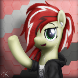 Size: 3000x3000 | Tagged: artist:facelesssoles, clothes, earbuds, female, hair over one eye, jacket, mare, oc, oc:dawn, pony, safe, solo