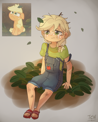 Size: 1289x1600 | Tagged: applejack, artist:tcn1205, clothes, cute, daaaaaaaaaaaw, earth pony, equestria girls, equestria girls interpretation, female, filly, foal, going to seed, jackabetes, pony, safe, scene interpretation, spoiler:s09e10, that was fast, younger