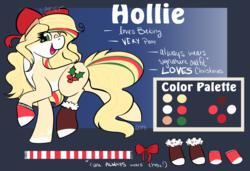 Size: 1280x877 | Tagged: artist:cadetredshirt, booties, bow, christmas, clothes, color palette, cutie mark, earth pony, female, fluffy, gradient background, hair bow, hair streaks, holiday, holly, long mane, long tail, looking at camera, looking at you, mare, oc, oc:hollie, one eye closed, pony, prancing, reference sheet, safe, scarf, simple background, smiling, socks, solo, walking, wavy hair, wavy mane, wink