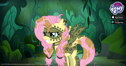 Size: 1200x630 | Tagged: alternate timeline, chrysalis resistance timeline, fluttershy, gameloft, my little pony logo, official, safe, solo, tribalshy