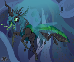 Size: 1200x1000 | Tagged: alternate design, angry, artist:skunk-bunk, changeling, changeling hive, changeling queen, female, flying, glare, group, hissing, hive, insect, mandibles, queen chrysalis, realistic, safe, solo, solo focus, tongue out