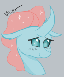 Size: 780x933 | Tagged: artist:cadetredshirt, blushing, bust, changedling, changeling, derpibooru exclusive, digital art, female, horn, looking at you, mare, ocellus, pony, safe, shy, simple background, sketch, smiling, solo, sparkly mane, student