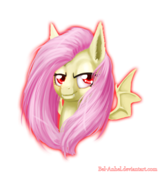 Size: 2900x3123 | Tagged: artist:bel-assa, bat ponified, bat pony, bust, ear fluff, female, flutterbat, fluttershy, lidded eyes, looking at you, mare, pony, race swap, safe, simple background, smiling, smirk, solo, spread wings, transparent background, wings