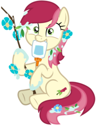 Size: 5000x6535 | Tagged: artist:djdavid98, cute, cuteluck, flower, flower in hair, glue, messy, mouth hold, pony, rosabetes, roseluck, safe, silly, silly pony, simple background, sitting, solo, spoiler:s09e11, stick, student counsel, .svg available, transparent background, underhoof, vector