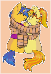 Size: 1301x1880 | Tagged: artist:vanabette, clothes, commission, female, friendshipping, glasses, hairpin, holding hooves, hoodie, just friends, looking at each other, male, mare, not shipping, oc, oc:code sketch, oc:nenenyaa, pony, safe, scarf, shared clothing, shared scarf, simple background, sitting, stallion, unicorn, ych result