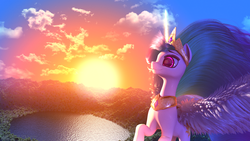Size: 3840x2160   Tagged: safe, artist:etherium-apex, princess celestia, pony, 3d, 4k, blender, lake, solo, sun