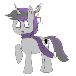 Size: 500x500   Tagged: safe, artist:inky scroll, discord, oc, oc only, oc:inky scroll, pony, unicorn, clothes, cute, discord plushie, male, plushie, scarf, simple background, white background