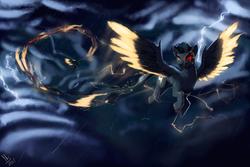 Size: 3000x2000 | Tagged: safe, artist:nsilverdraws, oc, oc only, oc:eldin heilagur, demon, demon pony, original species, pegasus, pony, cloud, glow, rain, solo