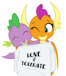 Size: 600x688 | Tagged: safe, artist:queencold, smolder, spike, dragon, clothes, commission, cute, duo, fangs, female, love and tolerate, male, oversized clothes, oversized shirt, shared clothing, shirt, simple background, smolderbetes, spikabetes, t-shirt, transparent background, winged spike