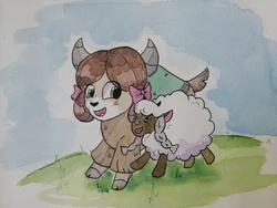 Size: 5120x3840 | Tagged: safe, artist:lightisanasshole, yona, pony, sheep, wooloo, yak, adorkable, bow, cloven hooves, crossover, cute, dork, duo, female, grass, grass field, hair bow, happy, monkey swings, pet, pokemon sword and shield, pokémon, running, solo, traditional art, watercolor painting, yonadorable