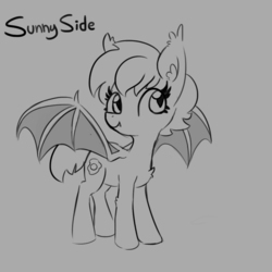 Size: 1080x1080 | Tagged: artist:tjpones, bat pony, bat pony oc, chest fluff, ear fluff, female, gray background, grayscale, mare, monochrome, oc, oc only, oc:over easy, pony, safe, simple background, smiling, solo, spread wings, wings