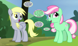 Size: 960x576 | Tagged: artist:jhayarr23, artist:tawaki, cute, derpabetes, derpy hooves, dialogue, female, headcanon, implied crackle pop, implied dinky, mintabetes, minty, mother and daughter, rock solid friendship, safe, speech bubble, spoiler:interseason shorts, sundae sundae sundae, tree