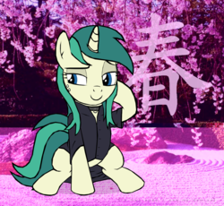 Size: 1755x1612 | Tagged: safe, artist:tyamat, oc, oc only, oc:spring starflower, pony, unicorn, absurd resolution, choker, clothes, cute, dress, female, kanji, simple background, solo, trans girl, transgender, transparent background, vaporwave