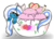Size: 1057x756 | Tagged: safe, artist:beamybutt, oc, oc:fleurbelle, alicorn, alicorn oc, bow, bowl, cute, female, food, hair bow, ice cream, mare, sprinkles, strawberry, tongue out