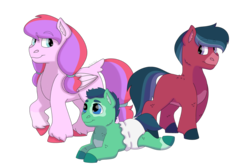 Size: 1280x854 | Tagged: artist:itstechtock, baby, baby pony, colt, diaper, earth pony, female, filly, male, oc, oc:lucky lu, oc only, oc:poco loco, pegasus, pony, prone, safe, simple background, transparent background
