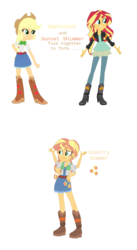 Size: 795x1451   Tagged: safe, artist:berrypunchrules, applejack, sunset shimmer, oc, oc:country summer, equestria girls, fusion, multiple arms, multiple limbs
