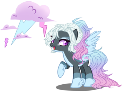 Size: 2750x2050 | Tagged: safe, artist:gihhbloonde, artist:meimisuki, oc, oc only, oc:alluring storm, pegasus, pony, base used, eyeshadow, female, makeup, mare, multicolored hair, offspring, open mouth, pale belly, parent:rainbow dash, parent:thunderlane, parents:thunderdash, raised hoof, simple background, solo, transparent background