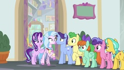Size: 1920x1080 | Tagged: safe, screencap, berry blend, berry bliss, citrine spark, fire quacker, huckleberry, peppermint goldylinks, silverstream, starlight glimmer, classical hippogriff, earth pony, hippogriff, pegasus, pony, unicorn, student counsel, background pony, bow, female, friendship student, hair bow, male, mane bow, mare, quill, raised hoof, stallion