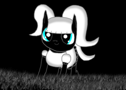 Size: 1057x755 | Tagged: adorable face, alternate version, artist:undeadponysoldier, black and white, black background, clothes, cute, cute smile, different eye color, dress, earth pony, female, filly, goth, gothic lolita, grass, grayscale, monochrome, oc, oc:foalita, oc only, pigtails, pony, pretty, recolor, safe, simple background, solo