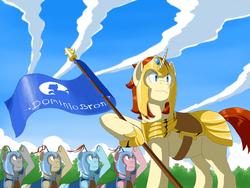 Size: 1000x750 | Tagged: safe, artist:vinilyart, pony, armor, cloud, flag, royal guard, salute
