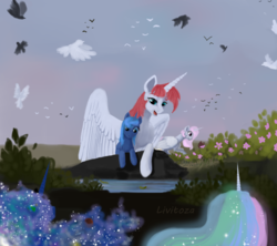Size: 900x800 | Tagged: alicorn, artist:livitoza, bird, butterfly, garden, mother and daughters, oc, oc:fausticorn, pink-mane celestia, pond, princess celestia, princess luna, remembrance, royal sisters, safe, signature, younger