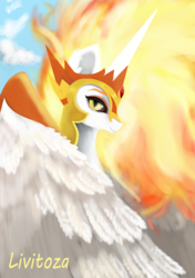 Size: 2320x3296 | Tagged: artist:livitoza, bust, daybreaker, folded wings, mane of fire, portrait, safe, signature, smiling, solo, wings