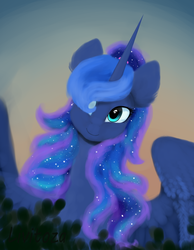Size: 2322x3000   Tagged: safe, artist:livitoza, princess luna, alicorn, pony, bust, ethereal mane, female, hair over one eye, mare, portrait, signature, smiling, solo, spread wings, starry mane, wings