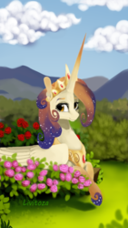 Size: 450x800 | Tagged: safe, artist:livitoza, oc, oc only, oc:queen galaxia, alicorn, pony, 's parents, alicorn oc, celestia and luna's mother, ethereal mane, female, flower, horn, jewelry, long horn, mare, mother, peytral, prone, regalia, scenery, smiling, solo, starry mane, tiara