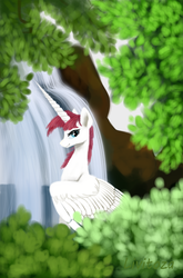 Size: 450x680 | Tagged: alicorn, artist:livitoza, female, horn, leaves, long horn, looking at you, mare, oc, oc:fausticorn, oc only, ponified, pony, safe, smiling, solo, waterfall