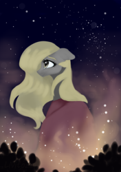 Size: 2322x3300 | Tagged: alternate hairstyle, artist:livitoza, cloak, clothes, derpy hooves, female, floppy ears, long hair, mare, night, pony, profile, safe, smiling, solo, starry night, stars