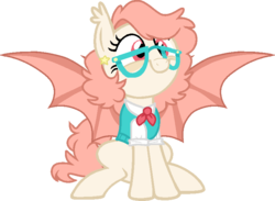 Size: 762x557 | Tagged: artist:ditzydoggy, base used, bat pony, ear piercing, earring, glasses, jewelry, oc, oc:newton, piercing, safe, solo, sweater vest