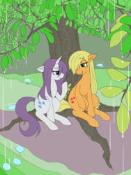 Size: 2448x3264 | Tagged: applejack, artist:haibaratomoe, cute, female, jackabetes, lesbian, looking at each other, missing accessory, rain, raribetes, rarijack, rarity, safe, shipping, tree, wet, wet mane, wet mane rarity