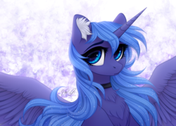 Size: 2450x1750 | Tagged: alicorn, artist:vird-gi, bust, chest fluff, choker, cute, ear fluff, female, looking at you, lunabetes, mare, pony, portrait, princess luna, s1 luna, safe, solo, spread wings, wings