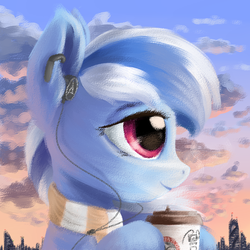 Size: 1000x1000 | Tagged: artist:ravistdash, avatar, city, clothes, cloud, coffee, dawn, derpibooru exclusive, headset, oc, oc only, oc:ravist, safe, scarf, smiling