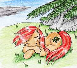 Size: 1868x1651   Tagged: safe, artist:40kponyguy, derpibooru exclusive, oc, oc only, oc:safe haven, earth pony, pony, cute, ear fluff, female, grass, mare, ocbetes, sleeping, solo, traditional art