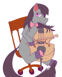 Size: 1461x1809 | Tagged: artist:zeninji, cello, chair, musical instrument, octavia melody, safe, simple background, transparent background