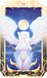 Size: 750x1250 | Tagged: anthro, artist:d-sixzey, card, clothes, eyes closed, female, female focus, gold, high priestess, hippogriff, moon, oc, oc:kalinka, oc only, praise the moon, robe, safe, see-through, solo, solo focus, tarot card, wings